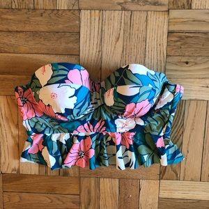 Plus size longline bikini peplum top